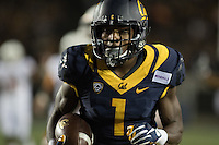 BERKELEY, CA - September 17, 2016: Cal's (1) Melquise Stovall runs with the ball after making a catch to score a touchdown in the second quarter. Cal played Texas at Cal Memorial Stadium.