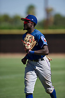 Texas Rangers outfielder Eric Jenkins (92) jogs off the field between innings during an Instructional League game against the San Diego Padres on September 20, 2017 at Peoria Sports Complex in Peoria, Arizona. (Zachary Lucy/Four Seam Images)