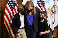 Samantha Power, administrator of the United States Agency for International Development (USAID), walks  out accompanied by her children Declan and Rían, following a swearing in ceremony in the Eisenhower Executive Office Building in Washington, D.C., U.S., on Monday, May 3, 2021. The Senate confirmed Power, who was an ambassador to the United Nations during the Obama administration, on April 28. <br /> Credit: Oliver Contreras / Pool via CNP /MediaPunch