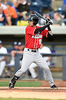 Great Lakes Loons second baseman Brandon Trinkwon (9) at bat during a game against the West Michigan Whitecaps on June 4, 2014 at Fifth Third Ballpark in Comstock Park, Michigan.  West Michigan defeated Great Lakes 4-1.  (Mike Janes/Four Seam Images)