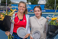 Amstelveen, Netherlands, 7 Augustus, 2021 National Tennis Center, NTC, NKR, National  Wheelchair Tennis Championships, Women's doubles final : Runners up Jinte Bos (NED) and Lizzy de Greef (NED) with the trophy<br /> Photo: Henk Koster/tennisimages.com