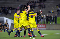 Wairarapa College celebrate winning the shootout in the 2019 Wellington Secondary Schools Premier 1 Boys Grade hockey final between Wairarapa College and Wellington College at National Hockey Stadium in Wellington, New Zealand on Friday, 23 August 2019. Photo: Dave Lintott / lintottphoto.co.nz