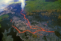Aerial of Kilauea volcano lava flow through Hawaii volcanoes national park, Big island