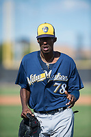 Milwaukee Brewers left fielder Je'Von Ward (78) jogs off the field between innings of an Instructional League game against the San Diego Padres at Peoria Sports Complex on September 21, 2018 in Peoria, Arizona. (Zachary Lucy/Four Seam Images)