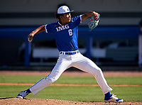 IMG Academy Ascenders pitcher Davion Hickson (6) during a game against the Lakeland Dreadnaughts on February 20, 2021 at IMG Academy in Bradenton, Florida.  (Mike Janes/Four Seam Images)