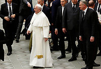 Pope Francis walks at the end of his weekly general audience in the Paul VI hall at the Vatican, January 22, 2020.<br /> <br /> UPDATE IMAGES PRESS/Riccardo De Luca<br /> <br /> STRICTLY ONLY FOR EDITORIAL USE