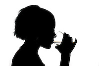 Montreal QC CANADA -Model Release Illustration Photo -<br /> Teenager female drinking water
