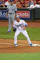 Los Angeles Dodgers first baseman Adrian Gonzalez waits for a throw during the MLB All-Star Game on July 14, 2015 at Great American Ball Park in Cincinnati, Ohio.  (Mike Janes/Four Seam Images)