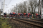 The peloton during a wet Stage 3 of the 78th edition of Paris-Nice 2020, running 212.5km from Chalette-sur-Loing to La Chatre, France. 10th March 2020.<br /> Picture: ASO/Fabien Boukla   Cyclefile<br /> All photos usage must carry mandatory copyright credit (© Cyclefile   ASO/Fabien Boukla)