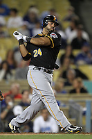 Pittsburgh Pirates third baseman Pedro Alvarez #24 bats against the Los Angeles Dodgers at Dodger Stadium on September 16, 2011 in Los Angeles,California. Los Angeles defeated Pittsburgh 7-2.(Larry Goren/Four Seam Images)