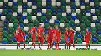 7th September 2020; Windsor Park, Belfast, County Antrim, Northern Ireland; EUFA Nations League, Group B, Northern Ireland versus Norway; Norway celebrate their 5th goal in front of the empty Windsor Park stands