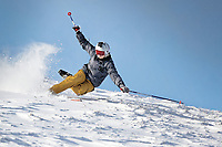 Pictured: A man falls over as he skis in the snow at Storey Arms in the Brecon Beacons, Wales, UK. Monday 11 December 2017<br /> Re: Freezing temperatures, snow and ice has affected parts of the UK.