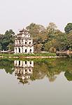 Tortoise Tower 03 - The historic Tortoise Tower, Thap Rua, reflected in the waters of Hoan Kiem Lake, Hanoi, Vietnam