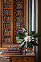Detail of one of the enclosed bookcases in the library which display a large collection of antique volumes