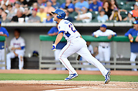 Tennessee Smokies third baseman Jason Vosler (22) swings at a pitch during a game against the Pensacola Blue Wahoos at Smokies Stadium on August 5, 2017 in Kodak, Tennessee. The Smokies defeated the Blue Wahoos 6-2. (Tony Farlow/Four Seam Images)