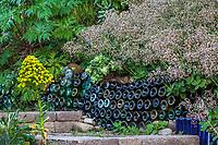 Glass garden art below Crassula multicava (Fairy Crassula, London Pride) Jim Bishop and Scott Borden garden