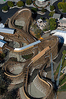 aerial photograph rollercoaster, California's Great America amusement park, Santa Clara, California