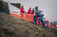Ben Tulett (GBR) maintaining control while (almost) slipping off the camber <br /> <br /> Men's Junior race<br /> <br /> UCI 2019 Cyclocross World Championships<br /> Bogense / Denmark<br /> <br /> ©kramon