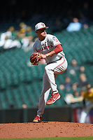 Oklahoma Sooners relief pitcher Jaret Godman (23) in action against the Missouri Tigers in game four of the 2020 Shriners Hospitals for Children College Classic at Minute Maid Park on February 29, 2020 in Houston, Texas. The Tigers defeated the Sooners 8-7. (Brian Westerholt/Four Seam Images)