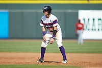Zach Remillard (7) of the Winston-Salem Rayados takes his lead off of first base against the Potomac Nationals at BB&T Ballpark on August 12, 2018 in Winston-Salem, North Carolina. The Rayados defeated the Nationals 6-3. (Brian Westerholt/Four Seam Images)