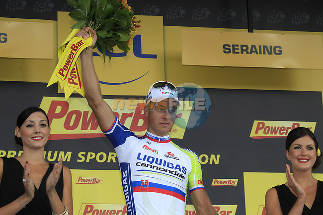 Peter Sagan (SVK) Liquigas-Cannondale wins Stage 1 of the 99th edition of the Tour de France, running 198km from Liege to Seraing, Belgium. 1st July 2012.<br /> (Photo by Eoin Clarke/NEWSFILE)
