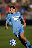 North Carolina Tar Heels midfielder Tobin Heath (98). The North Carolina Tar Heels defeated the Notre Dame Fighting Irish 2-1 during the finals of the NCAA Women's College Cup at Wakemed Soccer Park in Cary, NC, on December 7, 2008. Photo by Howard C. Smith/isiphotos.com