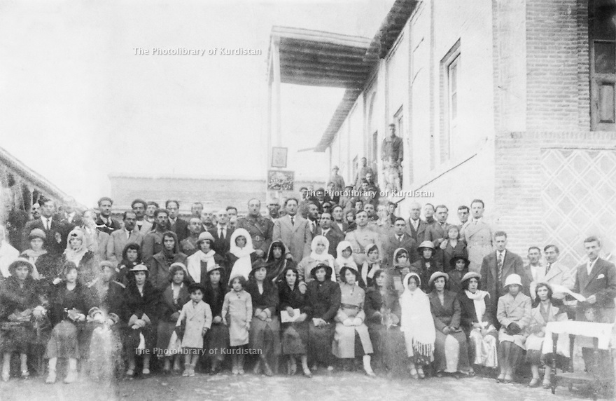 Iran 1939 .Celebration of the prohibition of the veil in Sakkez with the governor Seifulah Khan Ardalan.Iran 1939 .Celebration de l'interdiction de porter le voile a Sakkez en presence du gouverneur Seifulah Khan Ardalan