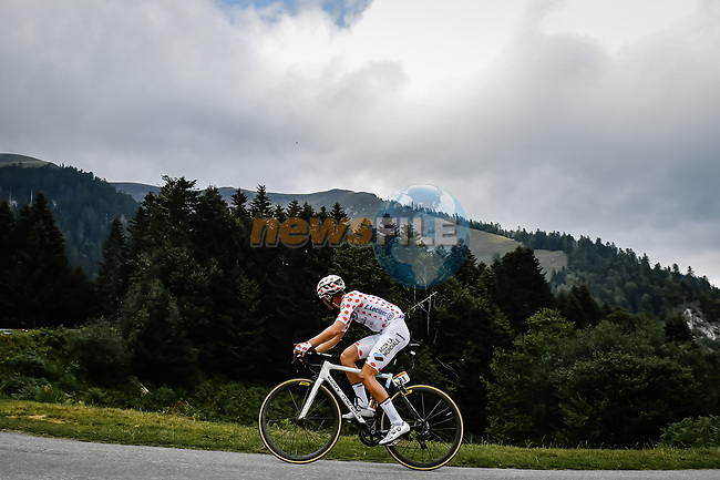 Polka Dot Jersey Benoit Cosnefroy (FRA) AG2R La Mondial climbs Port de Balès during Stage 8 of Tour de France 2020, running 141km from Cazeres-sur-Garonne to Loudenvielle, France. 5th September 2020. <br /> Picture: ASO/Pauline Ballet | Cyclefile<br /> All photos usage must carry mandatory copyright credit (© Cyclefile | ASO/Pauline Ballet)