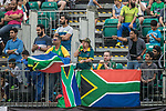 Fans of South Africa team wave the national flag and show their supports to their team during Day 2 of Hong Kong Cricket World Sixes 2017 Cup final match between Pakistan vs South Africa  at Kowloon Cricket Club on 29 October 2017, in Hong Kong, China. Photo by Yu Chun Christopher Wong / Power Sport Images