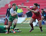 Connacht's Kieran Marmion breaks away <br /> <br /> Rugby - Scarlets V Connacht - Guinness Pro12 - Sunday 15th Febuary 2015 - Parc-y-Scarlets - Llanelli<br /> <br /> © www.sportingwales.com- PLEASE CREDIT IAN COOK
