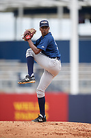 Lakeland Flying Tigers starting pitcher Anthony Castro (15) delivers a pitch during a game against the Tampa Tarpons on April 8, 2018 at George M. Steinbrenner Field in Tampa, Florida.  Lakeland defeated Tampa 3-1.  (Mike Janes/Four Seam Images)