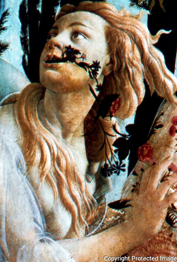 Renaissance Art:  Botticelli--The Spring, detail.  Galleria Uffizi.