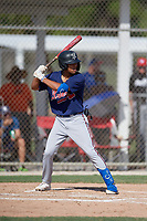 Aries Samek (20) during the WWBA World Championship at JetBlue Park on October 10, 2020 in Fort Myers, Florida.  Aries Samek, a resident of Teaneck, New Jersey who attends Teaneck High School, is committed to Clemson.  (Mike Janes/Four Seam Images)