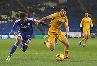 Kadeem Harris of Cardiff City is challenged by Ben Pearson of Preston North End during the Sky Bet Championship match between Cardiff City and Preston North End at Cardiff City Stadium, Wales, UK. Tuesday 31 January 2017