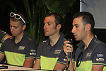 Peter Sagan (SVK), Ivan Basso and Vincenzo Nibali (ITA) at the Liquigas-Cannondale Team press conference in the Country Hall, Liege, Belgium before the 2012 Tour de France, Liege, Belgium. 28th June 2012.<br /> (Photo by Eoin Clarke/NEWSFILE)