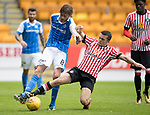 St Johnstone v Sunderland…15.07.17… McDiarmid Park… Pre-Season Friendly<br />Murray Davidson is tackled by George Honeyman<br />Picture by Graeme Hart.<br />Copyright Perthshire Picture Agency<br />Tel: 01738 623350  Mobile: 07990 594431