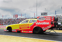 Jun. 2, 2012; Englishtown, NJ, USA: NHRA funny car driver Jack Beckman during qualifying for the Supernationals at Raceway Park. Mandatory Credit: Mark J. Rebilas-