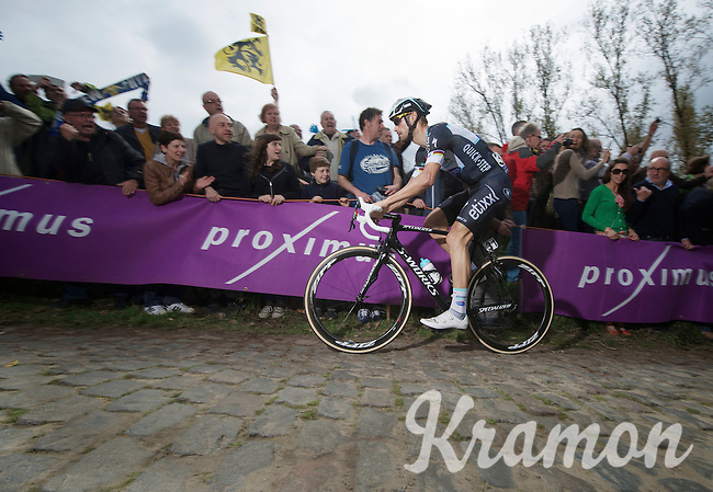 Tom Boonen (BEL/OPQS) up the cobbles of the Molenberg<br /> <br /> Ronde van Vlaanderen 2014