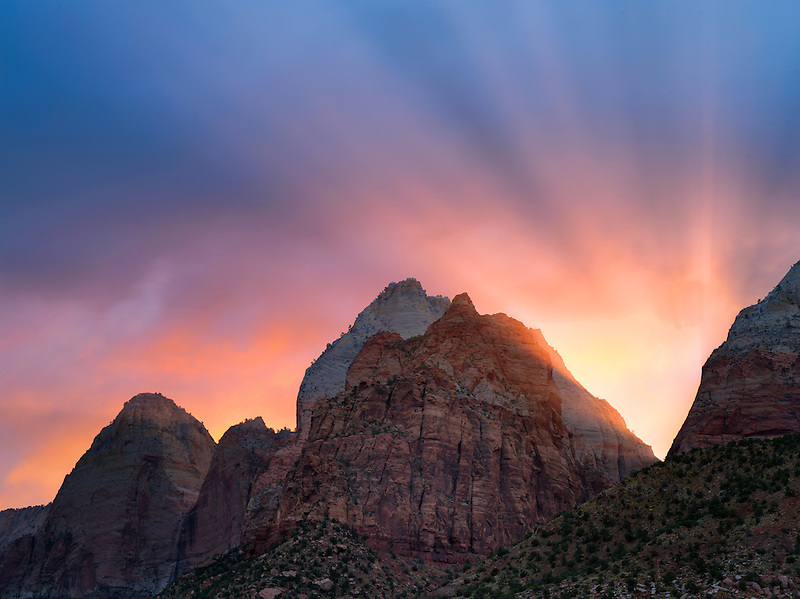Sunrise and rays over mountains. Zion National Park, Utah