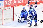 Tor zum 2:2 Anschluss, Torwart Michael Garteig (Nr.34 - ERC Ingolstadt) und Mathew Bodie (Nr.22 - ERC Ingolstadt) können das Tor nicht verhindern beim Spiel im Halbfinale der DEL, ERC Ingolstadt (dunkel) - Eisbaeren Berlin (hell).<br /> <br /> Foto © PIX-Sportfotos *** Foto ist honorarpflichtig! *** Auf Anfrage in hoeherer Qualitaet/Aufloesung. Belegexemplar erbeten. Veroeffentlichung ausschliesslich fuer journalistisch-publizistische Zwecke. For editorial use only.