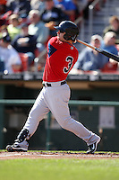 April 14, 2010:  Second Baseman Tug Hulett of the Pawtucket Red Sox hits a home run during a game at Coca-Cola Field in Buffalo, New York.  Pawtucket is the Triple-A International League affiliate of the Boston Red Sox.  Photo By Mike Janes/Four Seam Images