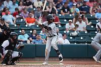 Liover Peguero (10) of the Greensboro Grasshoppers at bat against the Winston-Salem Dash at Truist Stadium on June 19, 2021 in Winston-Salem, North Carolina. (Brian Westerholt/Four Seam Images)