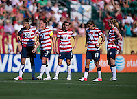 Carli Lloyd, Heather Mitts, Christie Rampone, Becky Sauerbrunn, Tobin Heath.  The USWNT defeated Costa Rica, 8-0, during a friendly match at Sahlen's Stadium in Rochester, NY.