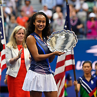 11th September 2021: Billie Jean King Tennis Centre, New York, USA; US Open Tennis, womens singles final. Canada's Leylah Fernandez of Canada displays her losing finalists trophy