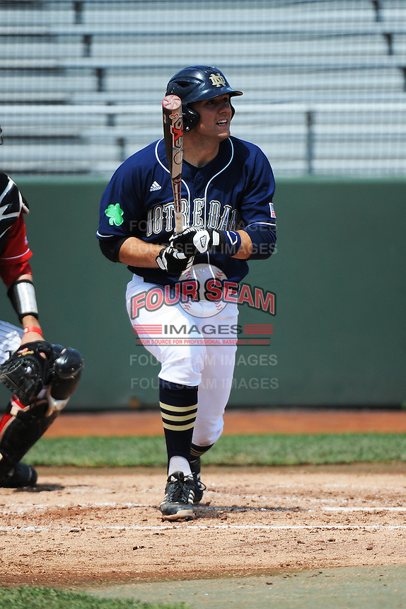 University of Notre Dame Fighting Irish infielder Eric Jagielo (7) during game against the St. John's University Redstorm at Jack Kaiser Stadium on May 12, 2013 in Queens, New York. St. John's defeated Notre Dame 2-1.      . (Tomasso DeRosa/ Four Seam Images)