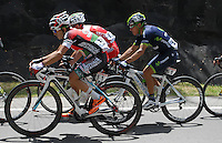 COLOMBIA. 08-08-2014. Jose Rujano (#51) y Fredy montaña (#61) durante la etapa 3, Barbosa – Chiquinquirá – Tunja – 123.2 Km, de la Vuelta a Colombia 2014 en bicicleta que se cumple entre el 6 y el 17 de agosto de 2014. / Jose Rujano (#51) and Fredy montaña (#61) cyclists during the stage 3, Barbosa – Chiquinquira – Tunja – 123.2 Km, of the Tour of Colombia 2014 in bike holds between 6 and 17 of August 2014. Photo:  VizzorImage/ José Miguel Palencia / Str