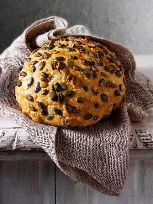 Artisan organic Pumpkin seed  bread loaf