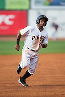 Henrry Rosario (52) of the Bristol Pirates hustles towards third base against the Johnson City Cardinals at Boyce Cox Field on July 7, 2015 in Bristol, Virginia.  The Cardinals defeated the Pirates 4-1 in game one of a double-header. (Brian Westerholt/Four Seam Images)