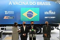 SÃO PAULO, SP, 16.06.2021 - COVID-19-SP - Rejane de Paula, Coordenadora do Centro de Controle de Doenças do Estado de São Paulo, Jean Carlo Gorinchteyn, Secretário Estadual de Saúde de São Paulo, João Doria, Governador de São Paulo, e Dimas Covas, Diretor do Instituto Butantan, durante o anuncio do início do envio das novas remessas de doses da vacina contra o novo coronavírus ao Programa Nacional de Imunizações (PNI) do Ministério da Saúde, no Instituto Butantan, nesta quarta-feira, 16. (Foto Charles Sholl/Brazil Photo Press)