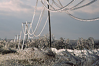Ice strains power-lines to the breaking point after the passage a severe ice storm in central Oklahoma in February.